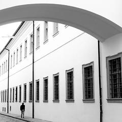 Lone (jockellucas) Tags: schwarz street lines linien bogen bow weis white people menschen windows geometrie geometry minimal gehweg altstadt downtown