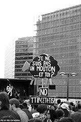No TTIP & CETA (Red Cathedral is offroad + off-grid in les Pyrn) Tags: sonyalpha a77markii a77 mkii eventcoverage cosplay alpha sony sonyslta77ii slt evf translucentmirrortechnology redcathedral streetphotography belgium alittlebitofcommonsenseisagoodthing activism protest ttip ceta stop greenpeace brussel bruxelles brussels blackandwhite noiretblanc zwartwit occupy manifestation demonstrate march wetstraat ruedelaloi architecture