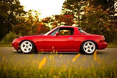 1990 Mazda Miata (Ryan.C.Davis) Tags: hardtop charlotte northcarolina spoiler coilovers mazdamiata marsred 35mmf14 projectg d2racing 15x9 0offset canon5dmarkii d2coilovers garagevaryreplip hoodriserkit planetmiatasideskirts revolution5spokeswheels