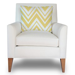 Zaida Accent Chair in Natural Organic Cotton with a Chevron Pillow in Bright Yellow and Natural (PURE Inspired Design) Tags: customfurniture organicfabric ecofriendlyfurniture woolrugs
