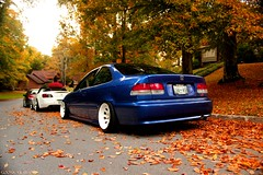stance em1 (goonkvilaivanh) Tags: blue autumn trees white cute fall girl leaves weather club honda season teal si wheels tan front racing diamond civic import s2k s2000 jdm volk gtp alliance dc5 rsx ap1 em1 mugen 9k fitted fitment datass hardparked