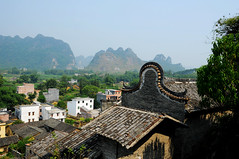 Village houses  (Melinda ^..^) Tags: china houses roof green home field rural river countryside village hill mel limestone melinda qingyuan   chanmelmel
