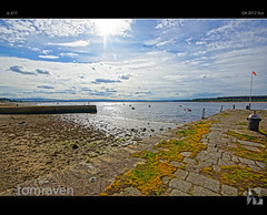 On The Dock Of The Bay (tomraven) Tags: light sea sky sun water clouds bay scotland pier dock moray findhorn findhornbay tomraven aravenimage q42012