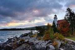 Eagle Harbor Lighthouse Sunrise,Eagle Harbor, Michigan (Michigan Nut) Tags: sky usa lighthouse rock clouds sunrise harbor midwest michigan scenic landmark lakesuperior keweenawpeninsula johnmccormick eagleharborlighthouse michigannutphotography nikon1635mmf4gedafsvrwideanglezoomlens