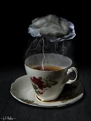 Storm In A Teacup (328/365) (Jchales.co.uk) Tags: china lighting cloud mist storm black coffee rain canon project dark 50mm day gloomy tea background days 328 7d bone lightning 365 splash 18 teacup saucer extremist strobist efs1755mmf28isusm 580exii 430exii jchales