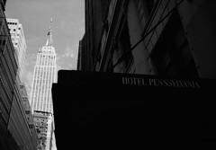Hotel Pennsylvania (Hiroyuki Okamoto) Tags: leica blackandwhite ny newyork film monochrome analog 35mm fuji kodak hc110 rangefinder summicron 400 empirestatebuilding neopan f2 135 iv m2 selfdeveloped homedeveloped hotelpennsylvania preasph selfdeveloping