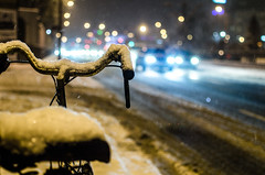 Lonely bicycle (spiterek) Tags: winter snow bike bicycle nikon bokeh warsaw warszawa wola wideanglelenses d5100 35mmf18g