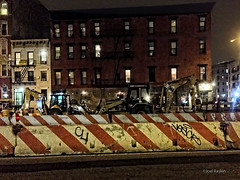 TTW - E. Houston Near Essex St. (Joel Raskin) Tags: street nyc newyorkcity urban les night construction manhattan lowereastside fromthebus iphone5