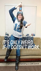 """""""It's only weird....if it doesnt work"""" (amarvel) Tags: selfportrait silly beer fun football creative playoffs budlight memes supersitition amarvel angelamarvel"""