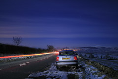 Midnight Car Shots (s_gibson72) Tags: road blue england snow car vw night volkswagen exposure frost north east northumberland b5 passat starts wooler