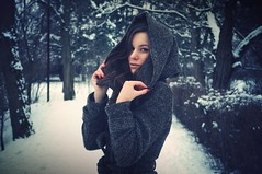 Frozen (Czxczz ) Tags: road trees winter red white snow girl look for frozen intense hands woods with madonna lips riding nails covered hood crossroads