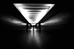 Gateway to the Underground (FlipMode79) Tags: bw abstract lines fog arlington underground lights pattern metro path sony stranger walkway va dcist alpha crystalcity hss nex flipmode79 nex5n