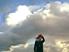 Kingdom In The Clouds (KaiaPieters) Tags: blue red sky castles girl clouds hair flying wind air kingdom