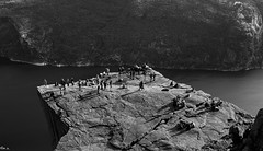 Tiny world (Choc') Tags: stavanger pulpit rock blackandwhite canon canon60d 60d people moutain climbing tiny high mount norway europe travel hiking nature landscape