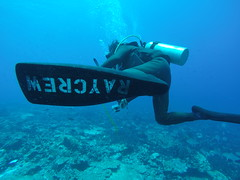 Hiro, our divemaster getting dragged around with the current!