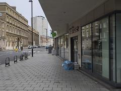 Easy like Sunday morning (roadscum) Tags: england london clerkenwell waitrose street newspapers bin bikes empty quiet morning sunday