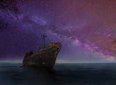 The Time Traveler (billpeppasphotography) Tags: shipwreck ship wreck ruin ruins decay decaying rust rusty abandoned milkyway milky way star stars starry sky sea ocean water fog mist time travel cruiseship cruise greece hellas githeio githio