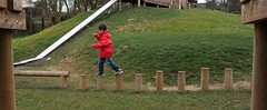 Stepping Across (foilman) Tags: jasper park logs stepping