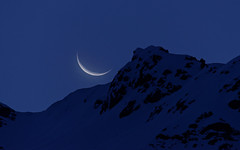 Blue Hour Surprise (DxO edit) (Seabird NZ) Tags: newzealand mountcook moon moonset bluehour surprise canterburyhighcountry nikond800e sigma120300mmf28 teleconverter dxo opticspro11 primenoisereduction aoraki crescent