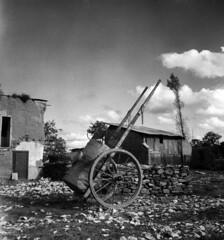 Fermes dtruites  Chapelle-en-Juger en septembre 1945 (Archives photographiques du MRU) Tags: andrlouisguillaume 1945 lachapelleenjuger normandie manche remorque ferme charrette ruine village ruralit mondeagricole equipementagricole