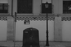 2016-07-28 09.07.38 1 (beamaestre11) Tags: street calle farola basura contenedor spain espaa vcso vcsocam blanco negro blanconegro black white blackwhite filter filtro nice picture pic photo garbage rubbish streetlight