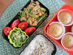 Bento #431 (Sandwood.) Tags: bento lunch lunchbox cooking food meal rice chicken mushipan steamedcake vegetables salad cucumber