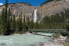 Bridge to Takakkaw Falls, Canada (NettyA) Tags: 2014 canada canadianrockies northamerica sonynex6 mountains travel takakkawfalls waterfall yohonationalpark britishcolumbia footbridge bridge river