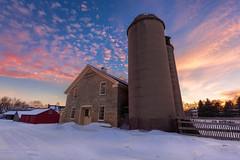 It won't be long (Brian Behling) Tags: triborn farm winter snow sunset barn silos silo