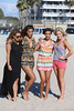 Vanessa White, Rochelle Humes, Frankie Sandford and Mollie King of The Saturdays spend the day at the beach. Venice Beach, California