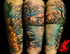 Mountail Lake Tattoo by Jackie Rabbit (Jackie rabbit Tattoos) Tags: city trees winter mountain lake snow tree tattoo star virginia cool pond colorful good awesome great roanoke va jackierabbit