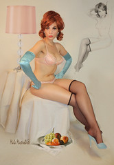 Redhead with blue gloves (Mala-Land) Tags: selfportrait classic stockings highheels retro redhead pinup nylons operagloves malamastroberte
