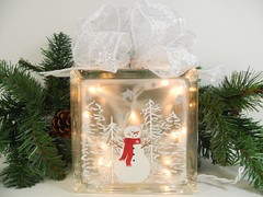 Lighted Glass Block Snowman Snow Scene 5 3/4 x 5 3/4 x 3 1/4 Hand Painted (Painting by Elaine) Tags: lighting christmas trees winter white holiday glass lights snowman painted handpainted block homedecor glassblock snowscene lighted paintedglass accentlight handpaintedglass lightedglassblock snowmandecorations snowmancollector paintingbyelaine lightedblock