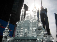 Ice Castle 3274 (Brechtbug) Tags: street new york city nyc sculpture snow cold tower castle castles ice square mouse coach october melting display time magic broadway disney mickey fairy animation times cinderella avenue limited 7th figures tale 2012 45th 12coach 10172012
