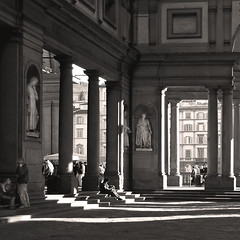 Uffizi Gallery, Florence ~ the Courtyard (Rita Crane Photography) Tags: italy monochrome sepia architecture florence shadows courtyard explore firenze uffizi visitors sculptures stockphoto uffizigallery piazzadegliuffizi ritacranephotography wwwritacranestudiocom porticodegliuffizi