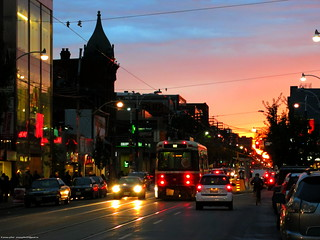 Sunset at Queen and Spadina