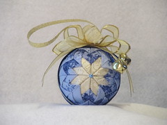 IMG_2230-2 (KC Fabric Ornaments) Tags: christmas blue bells ball gold sale handmade ornament fabric bow quilted ribbon etsy blueandgold crafted nosew fabricornament quiltedornament kcfabricornaments quiltedfabricornament