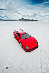 Ferrari F40 | Vertical (Folk|Photography) Tags: blue red sky white mountains vertical clouds utah salt ferrari flats crop bonneville f40