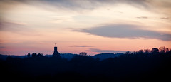Church on a Hill (Dylan Farrow) Tags: morning red black france colour church sunrise silouette website added sentous