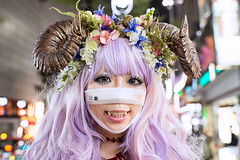 Shibuya Horned Girl (tokyofashion) Tags: halloween japan japanese tokyo costume cosplay vampire shibuya horns fangs pinkhair satyr 2012 streetsnap femalesatyr