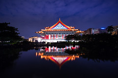Glorious Hall (Sharleen Chao) Tags: longexposure urban color reflection building horizontal night canon pond nightshot cloudy taiwan nopeople taipei nightscene bluehour  concerthall  cksmemorialhall  1635mm  canoneos5dmarkiii