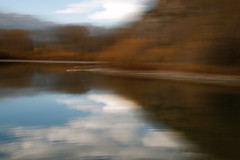 Teton Trumpeter Swans (Karen McQuilkin) Tags: white fall water birds reflections wildlife tetons impressionist icm horizontalpan intentionalcameramovement abstracttion karenandmc trumpetererswans reflectionswyoming