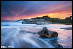 Drifting [Explored] (Aaron M Photo) Tags: california wood longexposure sunset santacruz seascape motion color beach nature beautiful clouds landscape photography coast movement log nikon pretty explosion gazebo hut westcoast naturalbridges statebeach naturalbridgesstatebeach nikond700 siliconvalleyphotography bayareaphotography aaronmeyersphotography