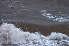 Stormy at Maryport (1) (allybeag) Tags: autumn sea weather october waves harbour stormy spray foam cumbria promenade railing bigwaves maryport spume