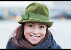 Annie (Stranger #3/100), London South Bank (flatworldsedge) Tags: street bridge portrait green london smile hat thames project bokeh south strangers bank annie blackfriars 100 100strangers uploaded:by=flickrmobile flickriosapp:filter=nofilter