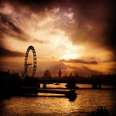 Waterloo Sunset (Huw Hopkins LRPS Photography) Tags: city bridge houses winter sunset urban london eye thames clouds river evening am big long paradise ben 4 january londoneye parliament waterloo gaze kinks iphone the waterloosunset 2013 i iphone4 instagram instigram aslongasigazeonwaterloosunsetiaminparadise