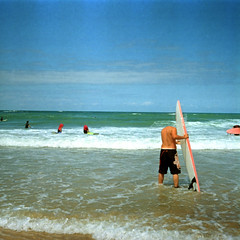 Headless Surfer in the cold seawater (monsieur be) Tags: color film beach diy sand surf waves kodak swell moules taxona huitres tetenal headlesssurfer