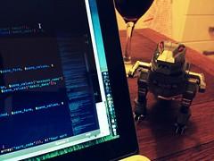 Grimlock is judging my code (017/365) (garrettc) Tags: apple toy wine transformer screen transformers 365 grimlock macbook macbookpro uploaded:by=flickrmobile flickriosapp:filter=chameleon chameleonfilter