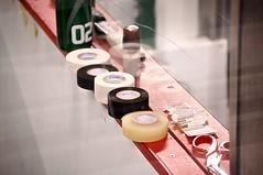 Tape (Gracers25) Tags: red orange white black game ice sports hockey bench bright devils tape skate albany stick adirondack phantoms