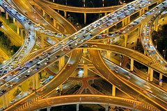 Golden Ribbons/ (Brady Fang) Tags: china road city light cars tourism night cityscape power shanghai traffic motorway citylife transportation businesstravel blurredmotion traveldestinations modeoftransport highangleview bestcapturesaoi elitegalleryaoi