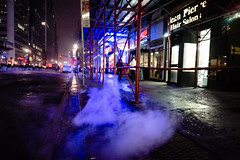 Snow and steam pipes, near Times Square (Dan Nguyen @ New York City) Tags: nyc winter snow fog night manhattan broadway steam midtown timessquare gothamist